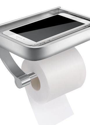 Держатель туалетной бумаги с полкой Primo Homemaxs - Silver