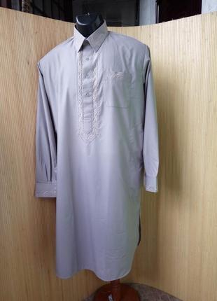 Длинная рубашка с воротником стоечкой / с вышивкой / джабадор /ди