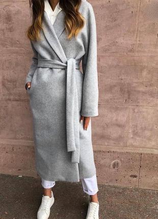 Кашемировое длинное oversize пальто с пояском 🌷