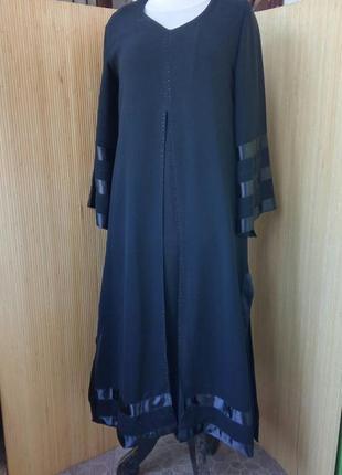 Длинное чёрное платье с атласом / абая / джаллаба ml
