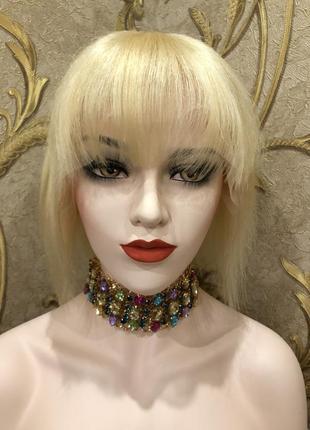 Парик блонд каре на сетке с чёлкой, женский, натуральный волос