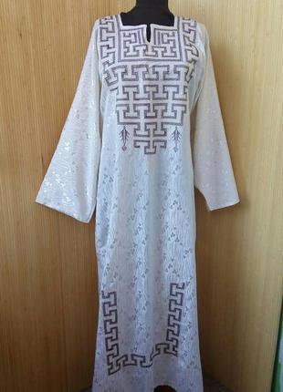 Длинное платье рубаха вышиванка / абая / галабея / джаллаба