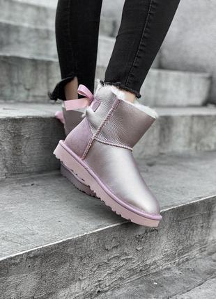Шикарные сиреневые женские ботинки ugg mini bailey bow ii grey