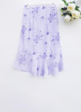 Летняя юбка легкая нежная юбка в цветочный принт большой размер