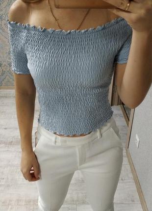 Стильная летняя блуза топ резинка