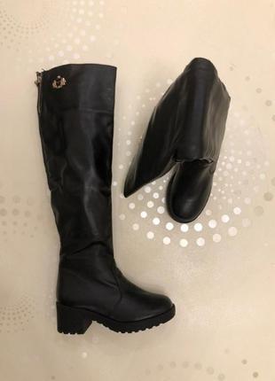 Зимние кожаные ботфорты, высокие сапоги 37, 38 размера