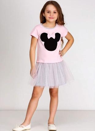 Летнее трикотажное платье минни для девочки