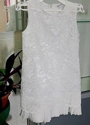 """Нарядное платье """"серебристое сияние"""" mevis для девочек 9-10 лет"""