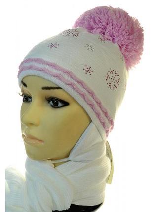 Зимняя шапка с шарфом agbo567, для девочки