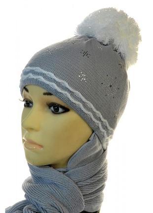 Зимний комплект шапка с шарфом agbo для девочки