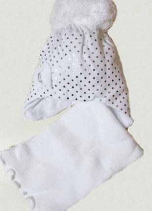 Зимняя шапка с шарфом agbo 889, для девочки,48-50р.