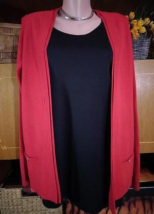 Яркая красная кофточка без застежки, кардиган bhs
