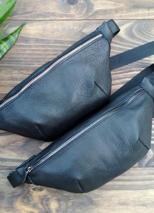 Поясная сумка бананка из натуральной кожи