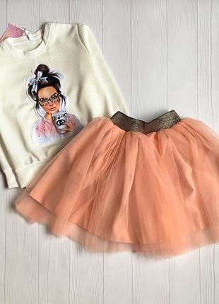 Шикарный костюм двойка на девочку, кофта и юбка