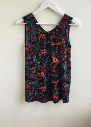 Распродажа!!! блуза в цветочный принт на шнуровке спереди george