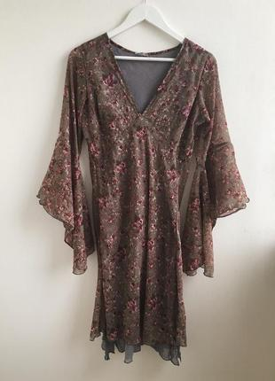 Распродажа!!! нежное платье-накидка в цветочный принт  с рукав...