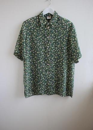 Распродажа!!! винтажная блуза в цветочный принт с подплечникам...