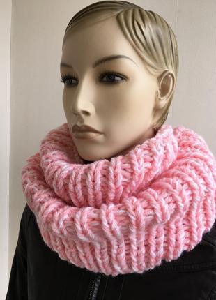 Шикарный снуд , шарф- хомут ручной работы, крупной вязки