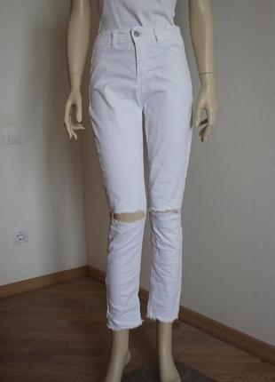 Стильные джинсы рваный низ высокая посадка blue sand, италия