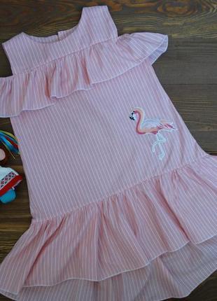 """Летнее платье для девочки """"розовый фламинго""""."""