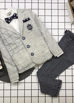 Костюм 4ка.  пиджак+рубашка+брюки с ремнём+бабочка