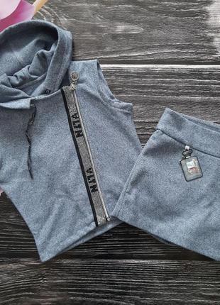 Стильный костюм жилетка+юбка - шорты