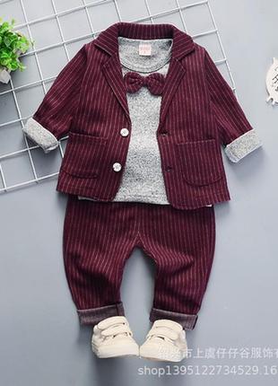 Нарядный и стильный костюм тройка для мальчика