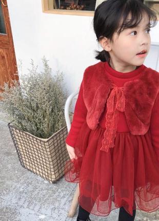 Теплое трикотажное платье на плюше