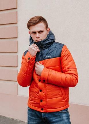"""Мужская весенняя куртка intruder """"brave soul"""" (черный / оранже..."""