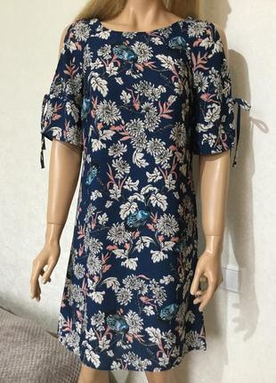 Платье в цветы и птицы george размер 10