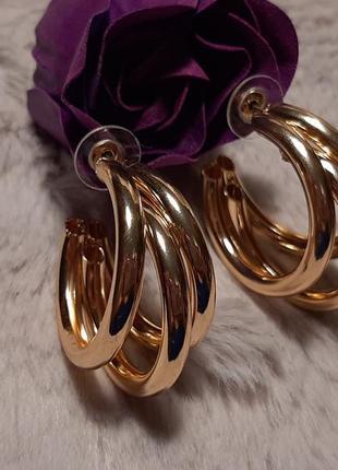Серьги крупные, кольца, цвет золото