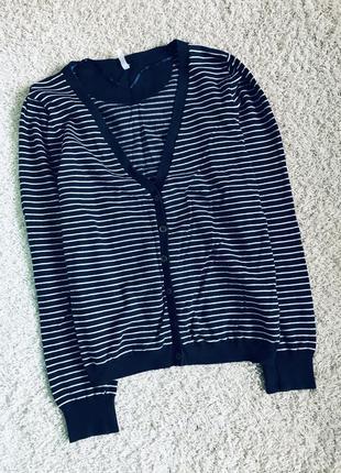 Кофта на пуговицах джемпер свитер кофточка в полоску