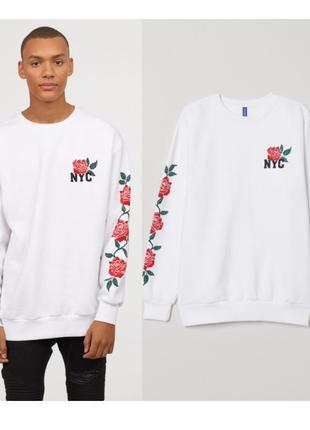 Белый мудской свитшот оверсайз,пуловер с рисунком