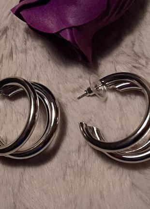 Серьги, крупные, массивные кольца, цвет серебро