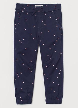 H&m спортивные штаны джоггеры в сердечки для девочки