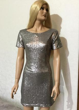 Платье в пайетки boohoo размер 14