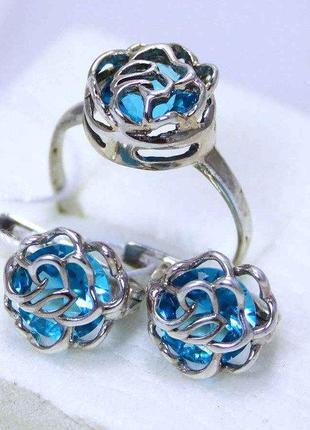 Набор роза кольцо и серьги серебро 925 проба голубой