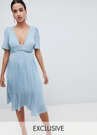 Эксклюзивное платье миди с юбкой плиссе, плиссированное с выре...