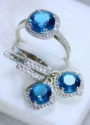 Набор кольцо + серьги серебро 925 проба голубой