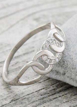 """Серебряное кольцо """"цепочка"""", вставка белые фианиты, размер 17"""