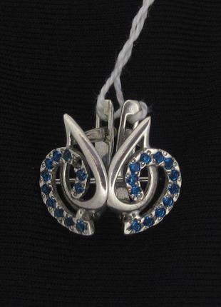 Серьги серебро 925 проба  синие