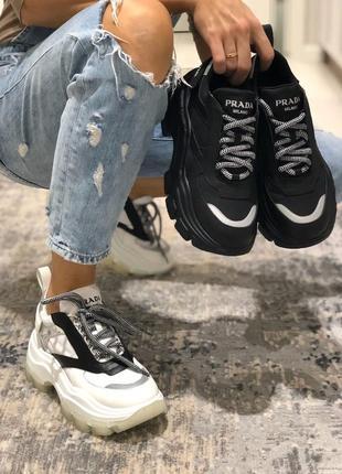 🔥трендовые натуральные prada🔥женские кожаные кроссовки