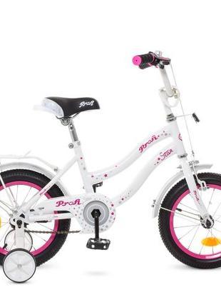 Детский велосипед 12 дюймов Profi Star Y 1294, бело-розовый
