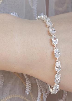 Браслет овалы  серебро с цирконием