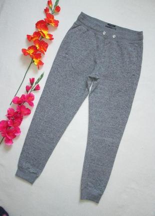 Трикотажные теплые с начесом спортивные брюки серый меланж выс...
