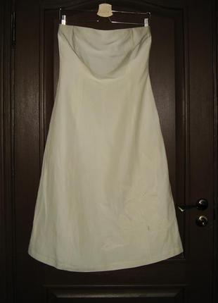 Льняное платье-бюстье с аппликацией, испанского бренда zara, м...