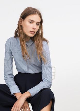 Рубашка,блузка силуэт в мелкую полоску размер 10-12 zara basic