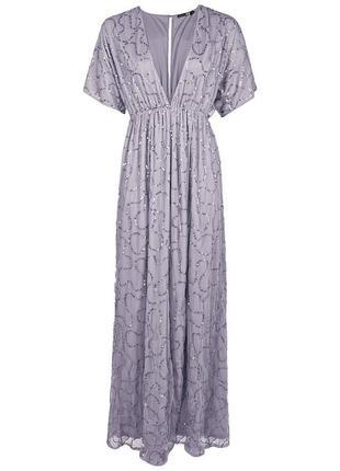 Платье в пол в пайетку