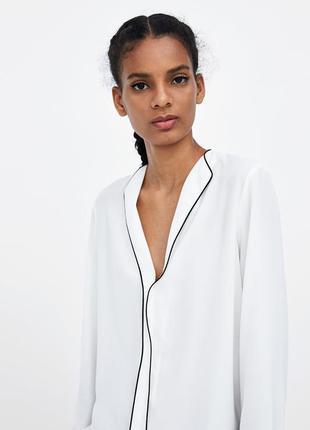 Блузка с накладным карманом в пижамном стиле размер 12-14 papaya