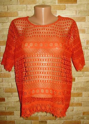 Кружевная блуза морковного цвета плотное кружево 16/50-52 размера